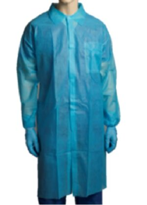 POLYPROPYLENE  LABCOAT  –  NO POCKET  –  BLUE CARTON/100