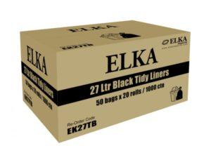Elka 27L Black Bin Liners