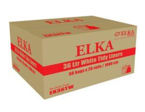 Elka 36L White Bin Liners