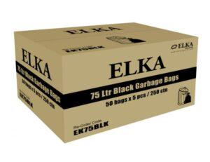 Elka 75L Black Garbage Bags