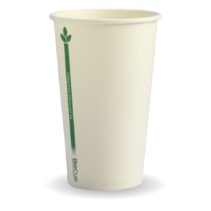 12oz (80mm) White Green Line Single WallBioCup