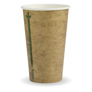 12oz (80mm) Kraft Green Line SingleWall BioCup