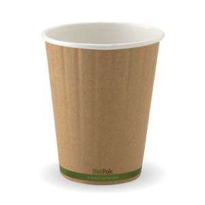 12oz (90mm) Kraft Green Stripe Double Wall BioCup