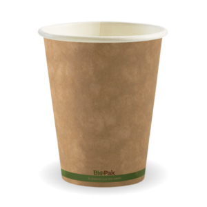 12oz (90mm) Kraft Green Stripe Single Wall BioCup