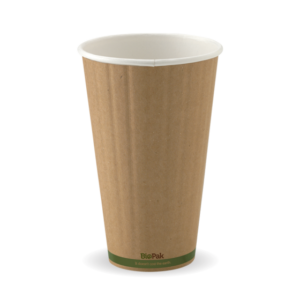 16oz (90mm) Kraft Green Stripe Double Wall BioCup