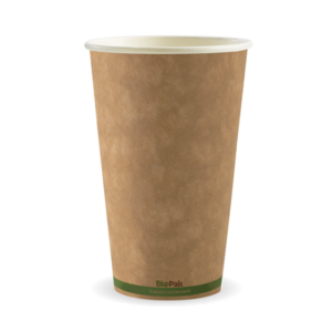 16oz (90mm) Kraft Green Stripe Single Wall BioCup