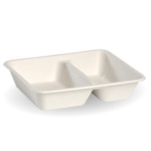 2-Compartment White BioCane Takeaway Base