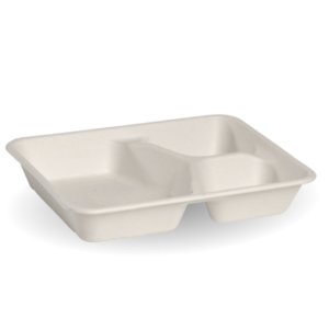 3-Compartment White BioCane Takeaway Base