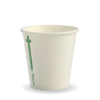 6oz (80mm) White Green Line Single Wall BioCup