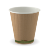 8oz (90mm) Kraft Green Stripe Double Wall BioCup