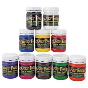 Crazy Face Paint Set of 10 Colours 250mls
