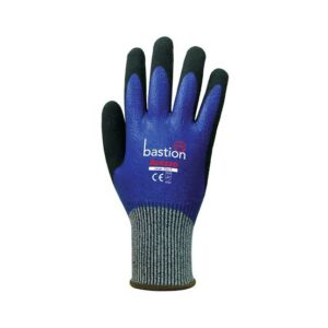 blue glove 300x300 - Blue Full Nitrile Coating & Black Sandy Foam Nitrile Coating