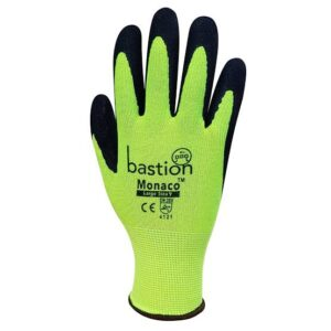 High Viz Yellow Polyester Gloves Black Sandy Foam Nitrile Coating