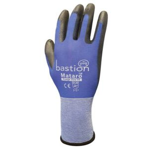 Blue Nylon Gloves Black Polyurethane Coating