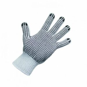 Polycotton Gloves – Black PVC Dots