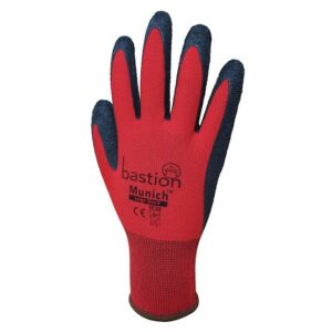 Red Nylon Gloves Black Crinkled Latex Coating